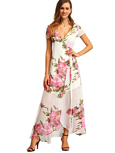 Split Maxi Boho White Floral Wrap Milumia Dress Vintage Women's Print 07xIxaXw