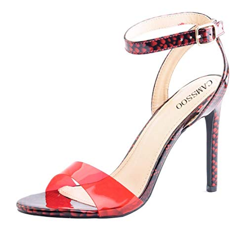 Women's Single Band Stiletto Heels Open Toe Ankle Strap Clear Sandals Red Size US7
