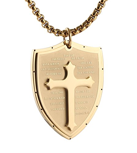 Shield armor of god ephesians cross stainless steel pendant shield armor of god ephesians cross stainless steel pendant necklace gold aloadofball Choice Image