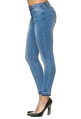 ArizonaShopping Denim elasticizzato usato D2237 aperto Jeans Blu donna Jeans pantaloni Hem B1r8Bp