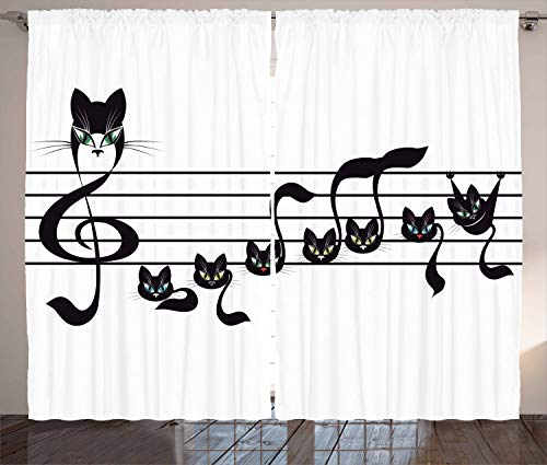 Ambesonne Music Decor Collection, Notes Kittens Cat Artwork Notation Tune Children Halloween Style Pattern, Living Room Bedroom Curtain 2 Panels Set, 108 X 84 Inches, Black Green Blue -