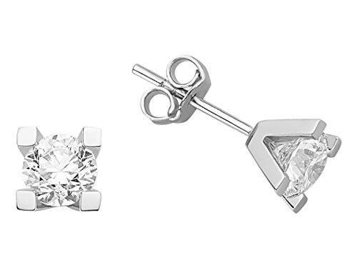 Boucles d'Oreilles Diamants Solitaires 1.42 Carats-Femme- or Blanc 223E0012