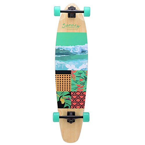 SANVIEW Bamboo Drop Through Longboard Skateboard Cruiser (Wave)