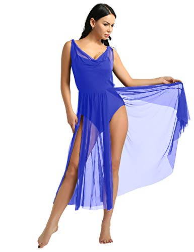 ACSUSS Women Adult Sleeveless Illusion V-Neck Mesh Split Flowy Skirt Mesh Lyrical Dance Dress Blue Medium (Dress Illusion Blue)