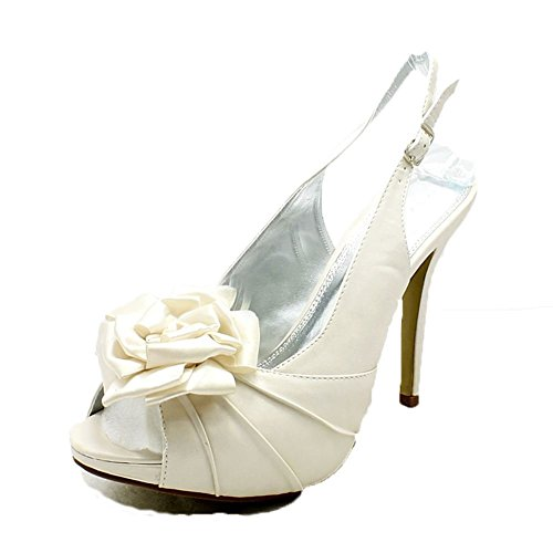 zapatos del dama partido peep perlas marfil honda toe Señoras de roseta de espalda honor 8q1wzT