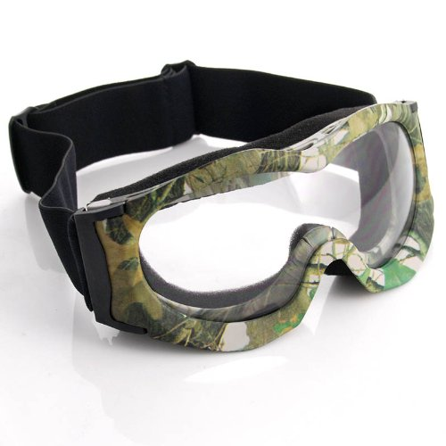 Camouflage Camo Style Frame Clear Lens Adjustable Elastic Strap Padded Padding Frost Free Scout Men Women UV Goggles For Outdoor Biking Trekking Hiking Skiing Snowboarding Ice Sledding Off Road Motorcross, Outdoor Stuffs