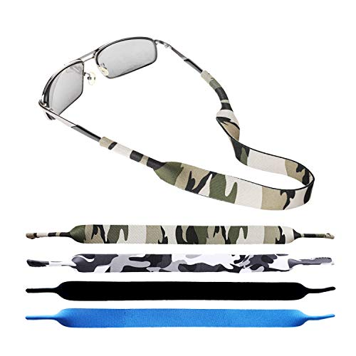 4 Pcs with Four Color Premium Sunglass Strap - Soft Durable Neoprene Material Floating Eyewear or Glasses Retainers
