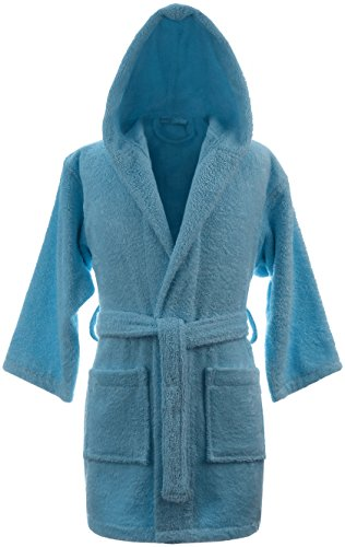 Boys Terry Hooded Bathrobe 100% Cotton Made in Turkey (Large, Turquoise)