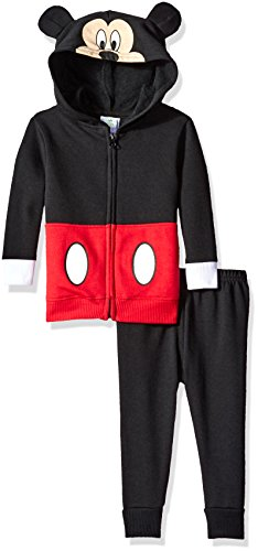 Disney Mickey Mouse Infant Costume (Disney Baby Boys' 2-Piece Mickey Mouse Costume Hooded Sweatshirt with Fleece Pant, Black, 6/9 Months)