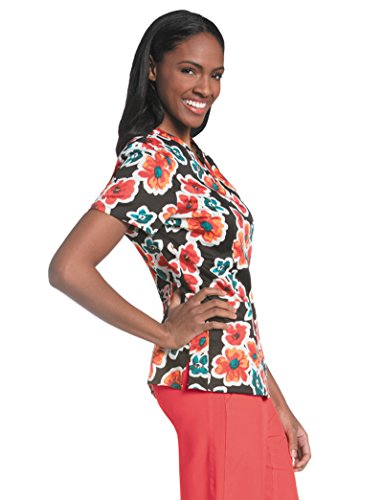 (Urbane Essentials Women's V-Neck Floral Print Tunic Scrub Top Large)