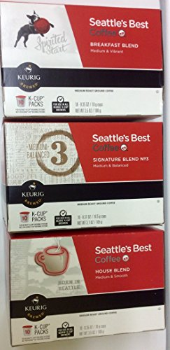 Seattles Best Blend Coffee (30 Pack Seattle's Best Coffee K-cup for Keurig Brewers Featuring Signature Blend, House Blend and Breakfast Blend)