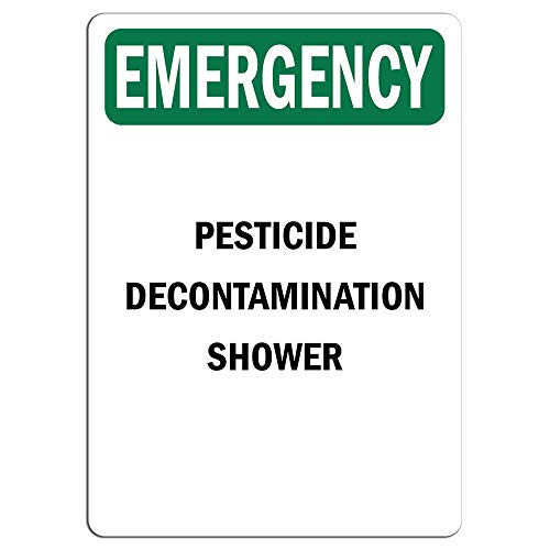 Emergency Sign Pesticide Decontamination Shower Store Sign Metal Sign for Front Door Aluminum Sign Heavy Duty Metal Tin Sign Gift