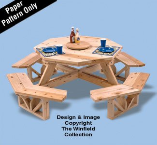 (Octagon Picnic Table Woodcraft Project Woodworking Pattern)