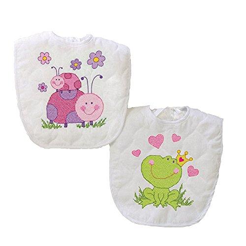 "Dimensions Baby Hugs Fairy Bibs Stamped Cross Stitch Kit-9x14"" Set Of 2"