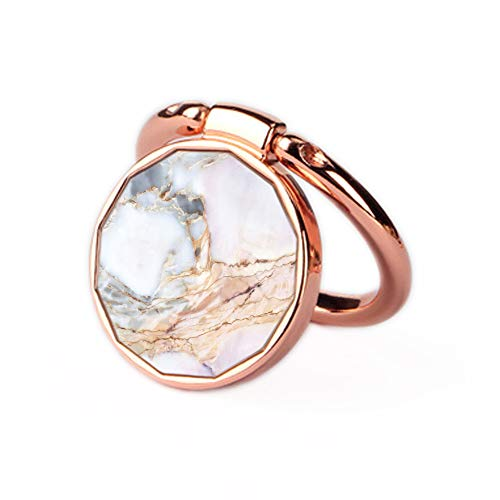 Phone Ring Holder Stand Rose Gold Oddss Pink Gemstone Marble Universal Thin Finger Ring Grip 360° 180°Flip Ring Stand Grip Mount Compatible for Smartphones