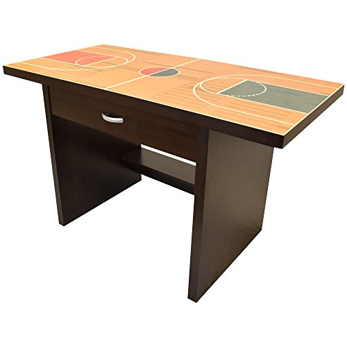 Kids Basketball Sports Fan Desk, Wooden Construction with Drawer, Glossy Finish and Easy to Clean, 35'' by Rack Furniture by Little Partners