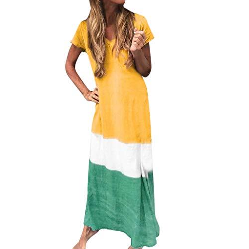 Tantisy ♣↭♣ Women's Short Sleeve V-Neck Length Dress Summer Casual Triple Color Block Beach Ankle-Length Dress Yellow