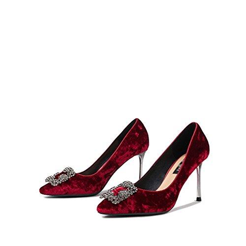 Donne Sexy Tacchi A Spillo Stiletti Moda Punta Corte Scarpe Sandali Scarpe Da Sposa Partito Di Ballo Discoteca Partito Rosso