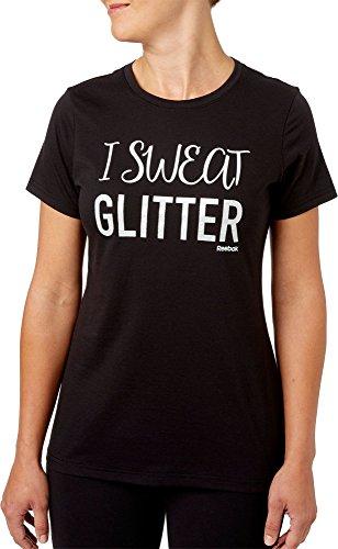 インポート悪化させる例リーボック トップス シャツ Reebok Women's I Sweat Glitter Graphic T Caviar [並行輸入品]