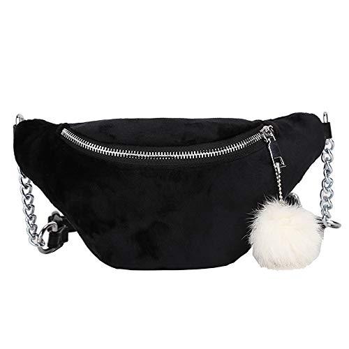 Crossbody Messenger Black Bag Women Brown Solid Fashion Chest Hairball Waist Bag Sling Bag Color Hobos q8wEx06E