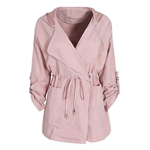 Veste Favoridol Coat Automne Veste Femme Revers Casual Printemps a Manche Longue Manteaux Mince Trench Rose Capuche rqfIAwqSnx