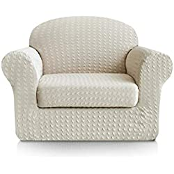 Subrtex 2-Piece Print Jacquard Spandex Fabric Stretch Sofa Slipcovers (Chair, Cream)