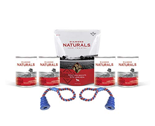 Diamond Natural Lamb Meal Dog Biscuits 1 Bag 4 cans Lamb Dinner Dog Food Plus 1 Lid & 2 Dog Toys