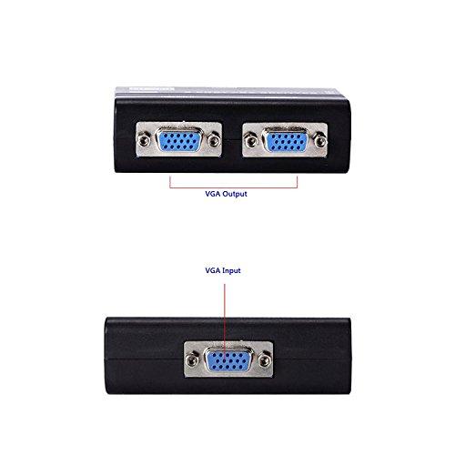 (Duttek 2 Port VGA Splitter, VGA Splitter 2 Port USB Powered Support 250MHz Bandwidth 19201440 Resolution for Screen LED Display and Big Screen LCD TV)