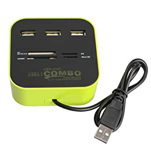 Vktech 3 Ports USB 2.0 HUB Multi-card Reader for Sd/mmc/m2/ms Mp-all in One (Green)