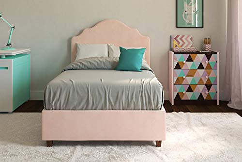(DHP Savannah Upholstered Platform Bed, Pink, Twin)