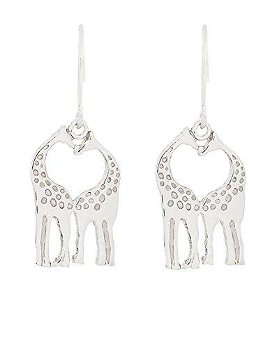 .925 Sterling Silver Giraffe Heart Earrings w/French Wire Hooks -