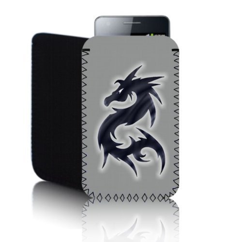 Biz-E-Bee Phonecase Exclusif 'Dragon' Gris clair Sony Xperia miro (S) résistant aux chocs en néoprène pour Téléphone portable, Housse, Pochette