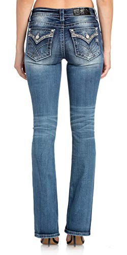 Silver Wide Border - Miss Me Women's Metallic Silver Border Trim Boot Cut Jeans (Medium Blue, 26)