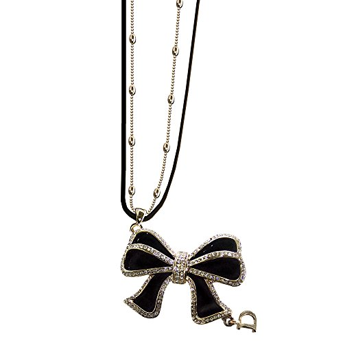 Twinkle Metal Deluxe Necklace - Opera Sweetheart Bow w/Crystals (Black) (Homemade Bird Costumes For Adults)