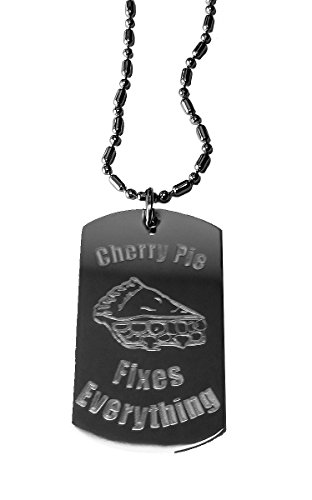 Cherry Pie Fixes Everything - Luggage Metal Chain Necklace Military Dog Tag ()