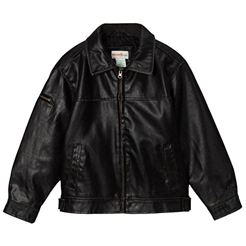 Momo Grow Big Boys Faux Leather Flight Bomber Jacket - Black -
