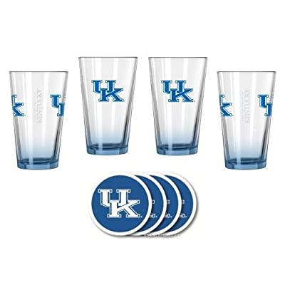 NCAA Kentucky - Elite Beer Pints & Vinyl Coasters Set | UK Wildcats Mixing Glass Beverage Set