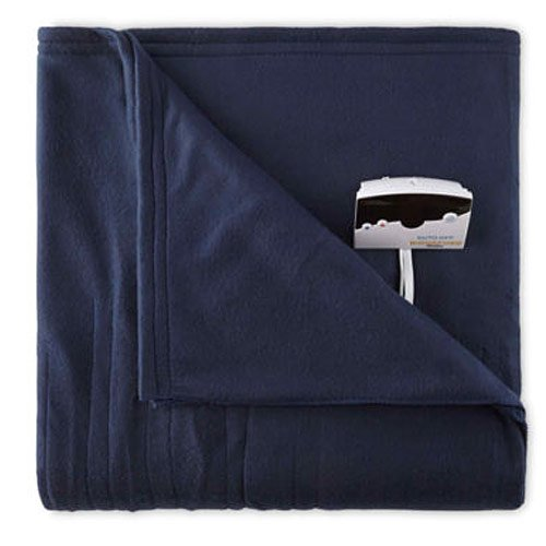 Biddeford 1001-9052106-544 Comfort Knit Fleece Electric Heated Blanket Full Navy Blue