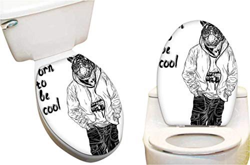 - Waterproof Toilet Seat Sticker to be Cool Quote Stylishy Dressed Tiger with Glasses Hipster Animal Image Black Toilet Stickers Restroom Art Stickers 14