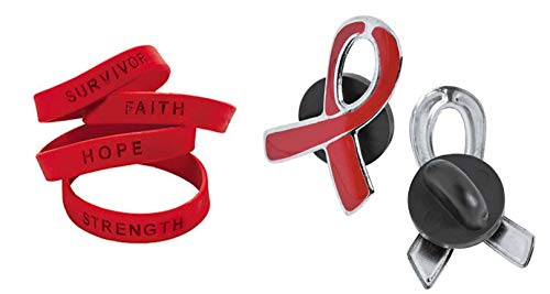 """100 RED AWARNESS SILICONE SUPPORT BRACELETS PLUS 4 """" FREE """" RED AWARENESS PINS ! HEART DISEASE, HIV/AIDS, SUBSTANCE ABUSE"""