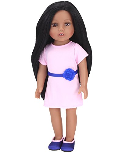 Brunette Haired Girl - Sophia's Dark Brown Haired Doll 18 Inch Vinyl Girl Doll with Light Pink Dress and Navy Shoes Perfect Girl Friend for Your Favorite American Doll!