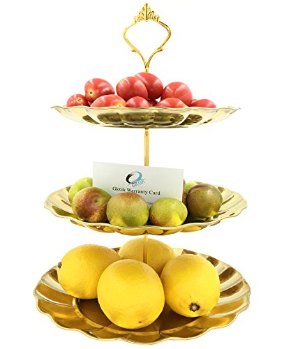 GkGk 3 Tier Stainless Steel Plates, Durable Gold Easy Assembly Stand with Elegant Retro Design for Fruits, Cupcakes, Snacks, Desserts, Candy, Ideal for Weddings, Parties and Home Use (Gold 3 (We'll Have Halloween On Christmas)