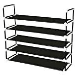 Sodynee 25 Pairs Shoe Rack Shoe Tower Shelf Storage Organizer Stand Cabinet Bench Stackable - Easy to Assemble - No Tools Required, Black