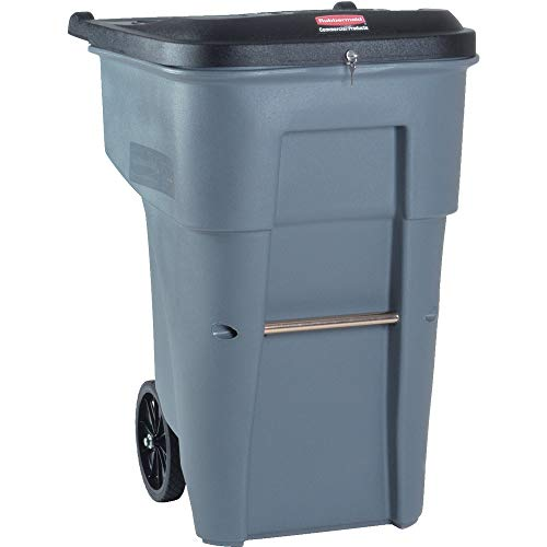 Rubbermaid Commercial Products BRUTE Confidential Document Rollout Waste/Utility Container, 95-gallon, Gray (FG9W1188GRAY)