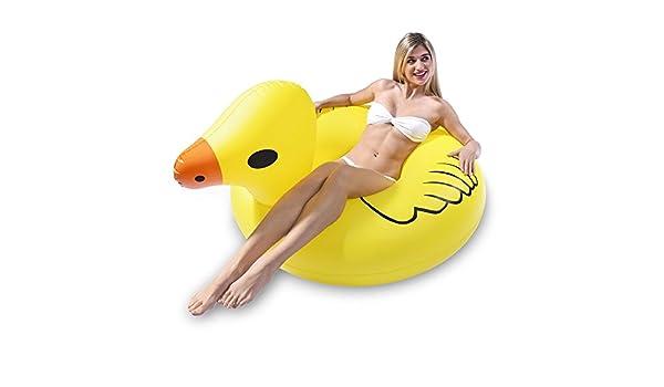 Diario Gigante inflable pato manejable verano anillo, calidad y gran tamaño juguete del PVC del flotador con la bomba adecuada para un adulto / piscina ...