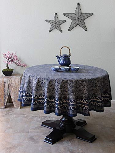 (Saffron Marigold Japanese Tablecloth Pacific Blue | 70 Round Navy Oriental Asian Ocean Wave Decorative Tablecloths)