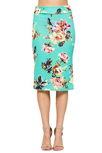 Junky Closet Women's Comfort Stretch Pencil Midi Skirt (Small, 2936TKAU Mint Floral) ()