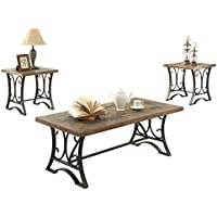 ACME Kiele Oak and Antique Black Coffee End Table Set 3 Piece