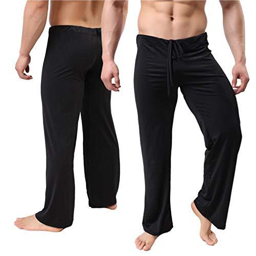 Pijama Maniche Pigiama Sexy Scivoloso Di Ghiaccio Loungewear Larghi Uomini A Xl Lounge Casa Uomo Seta Da Nero Lunghe Pantaloni 1PXaxx