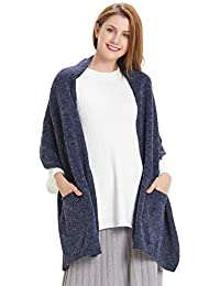 Womens Thick Knitted Shawls And Wraps Winter Soft Warm Scarf With Pockets